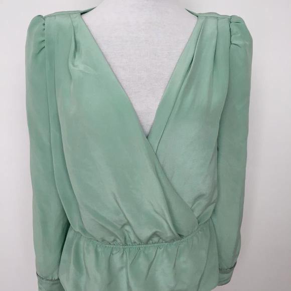 b9fad68a25db94 Colour Nude Tops - Pure Silk Mint Green Puff Sleeve Wrap Blouse
